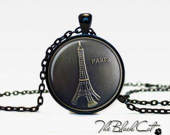 Paris pendant metal art style - art  print under glass - necklace Paris jewelry for hernfor men (PMS0002)
