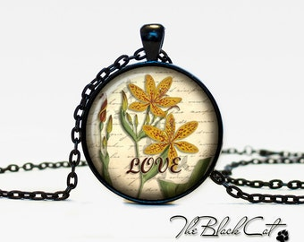 Vintage Flowers pendant Vintage Flowers jewelry Vintage Flowers necklace (PVF0008)