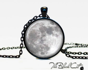 Moon pendant Moon necklace Moon jewelry grey moon (PM0003)