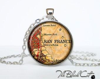 Vintage map of San Francisco pendant Old map of San Francisco necklace Antique map of San Franciscojewelry (PVM00006)