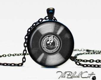 Old record pendant old record necklace old record jewelry (POR00002)