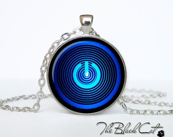 Button Power necklace Button Power jewelry Button Power pendant neon computer blue