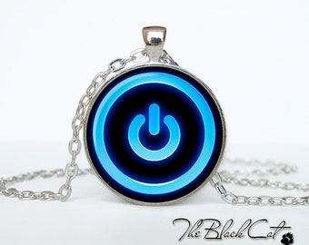 Button Power necklace Button Power jewelry Button Power pendant neon computer