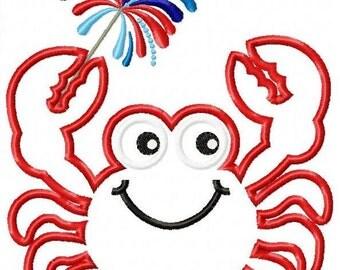 Patriotic Crab Machine Embroidery Design