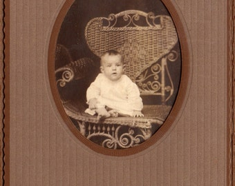 Antique Photo of Baby in Wicker Chair