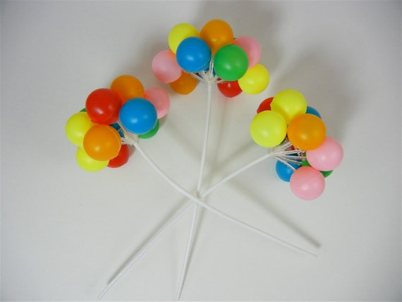 3 clusters-Colorful Plastic Balloon Picks Cupcake or Cake