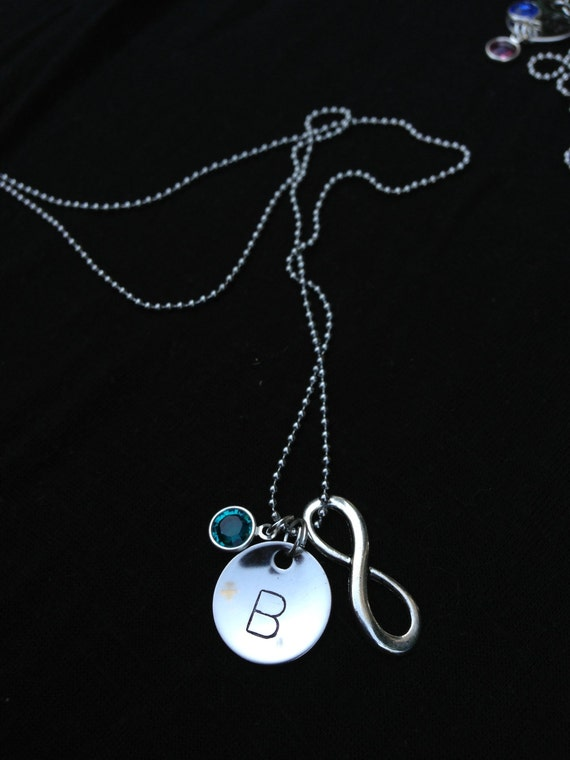 Personalized Initial Necklace with Swarovski Birthstone and Infinity Charm