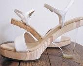 Avante 90s clear lucite and wood platform sandals