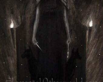 Hecate PRINT, Greek mythology, witch goddess painting, pagan artwork, dark surreal, myth Greek goddess art, Hecate illustration