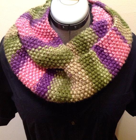 Striped Infinity Scarf Knitting Pattern : Striped Infinity Scarf Knit Cowl Purple Pink Green by SheKnitsJoy