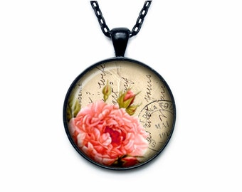 Paris and pink rose necklace rose pendant rose jewelry vintage style art pendant charm rose pendant necklace pendant