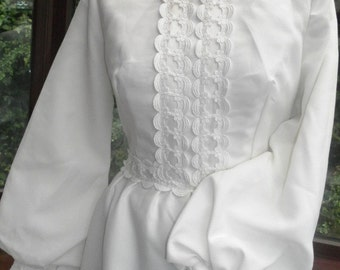 Vintage lace trimmed 1960s wedding dress with lace long buttoned sleeves size uk12