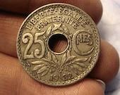 Coin Connoisseur - Antique France 25 centimes coin - km867a - circulated - art nouveau