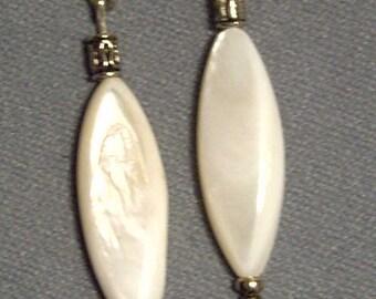 "Cynthia Lynn ""GARDEN WALK"" River Shell Dangle Fish Hook Earrings - 2 inches"