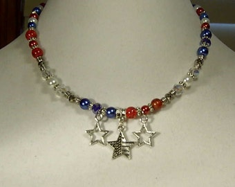 """Cynthia Lynn """"STARS & STRIPES"""" Patriotic Red White and Blue Beaded Necklace  16-18 inches"""