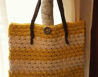 Bananas and Cream Crocheted Tote Bag