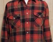 Vintage Golden Line Wool Shirt Plaid Men's Medium