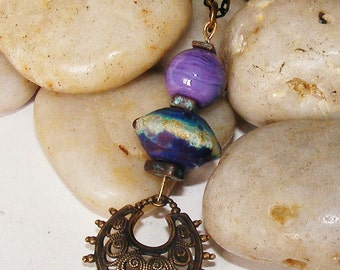 Purple and Brass Pendant Necklace
