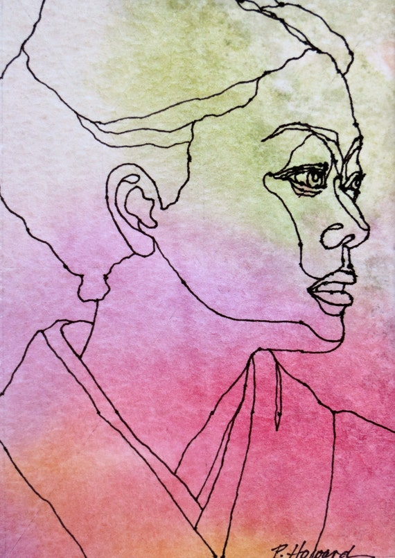 Famous Artists Who Use Continuous Line Drawing : Items similar to the geisha an original artwork ink