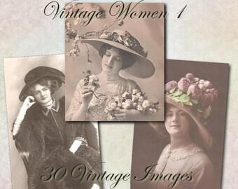 Vintage Women 1 - Digital Clipart Graphics
