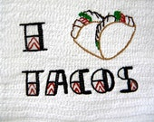 Taco Love embroidered towel