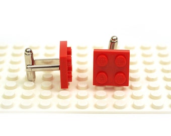 Red colour cufflinks. Cufflinks made with LEGO(R) bricks.    Cuff links Cufflink Wedding gift