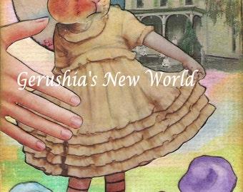 Little Bertie in the Garden - Anthropomorphic Watercolor/Collage Print