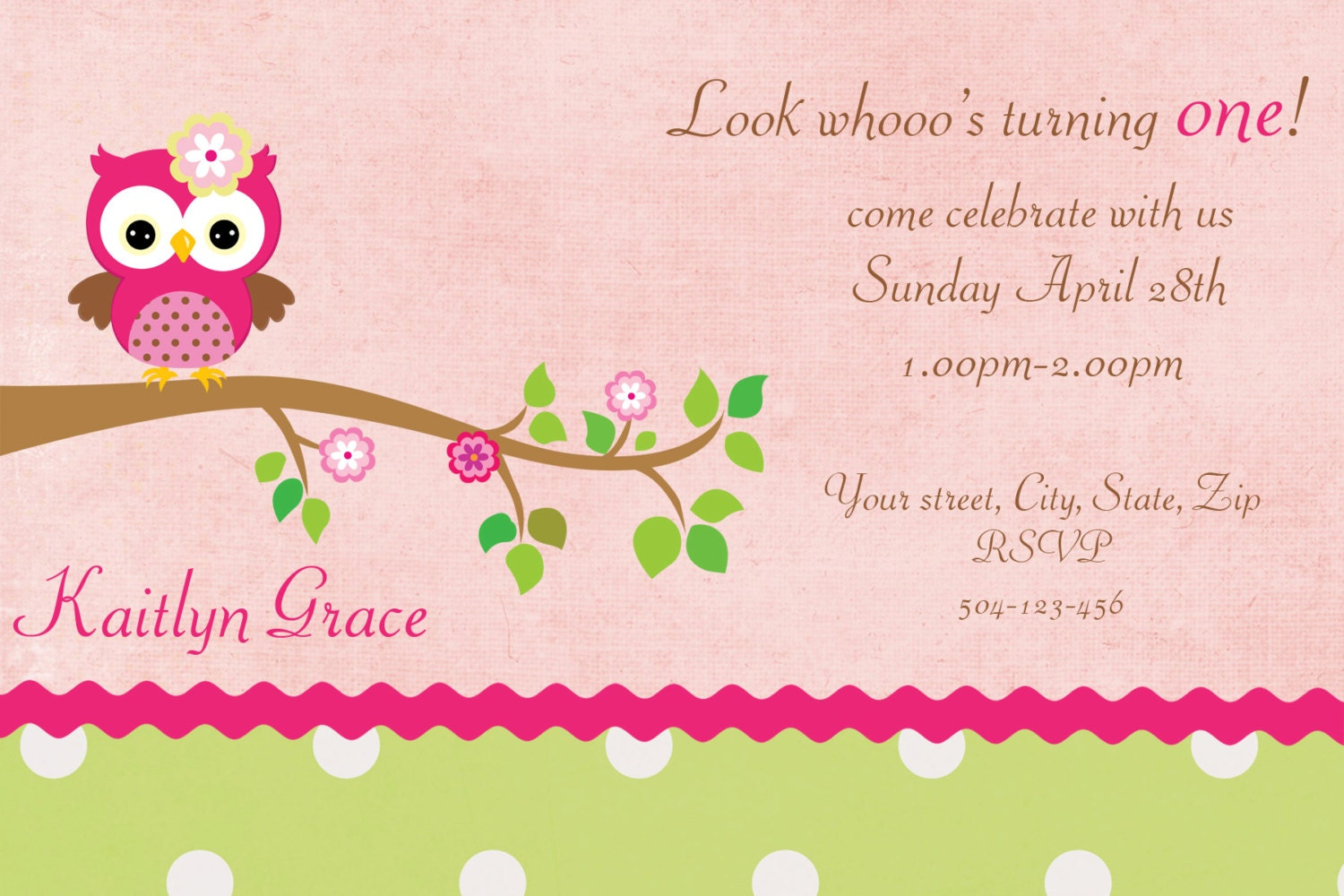 Owl Invitation Template Owl first birthday digital