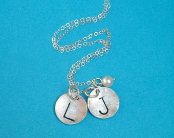 Sterling Silver  - Gold Filled Two Disc Initial Necklace