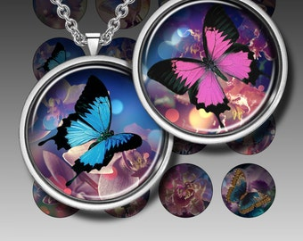 Digital Collage Sheet -  ORCHIDS AND BUTTERFLIES - Printable images - 1.5 inch circles for Resin Jewelry Pocket Mirrors Magnets. Set 170