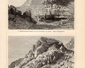 1897 Antique Desert Landscapes Print, Giza Pyramids, Wadi Faran, Saudi Arabia, Wadi Taifeh, Cairo, Desert Views, German Lithograph - Craftissimo