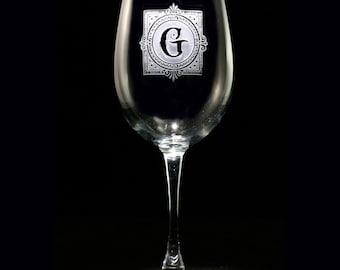 Monogrammed Etched Wine Glass with Initial
