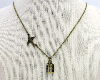 Fly Free Sparrow - Bird Cage Necklace