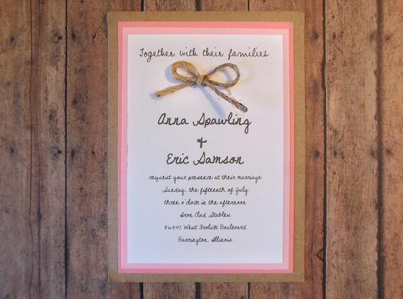 Wedding Invitations Kit: Items Similar To DIY Pink Rustic Wedding Invitation Kit