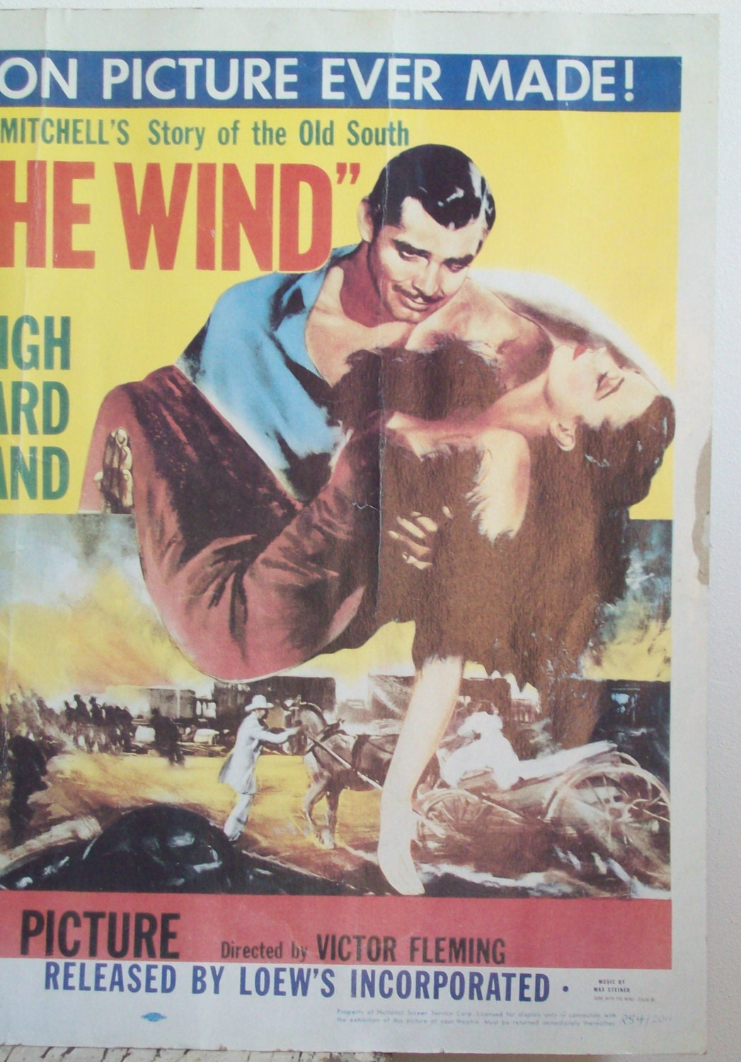 Gone With The Wind movie poster original 1954 theater display