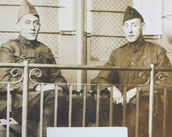 Vintage World War I Era 1910's US Army Soldiers Back To Chicago Real Photo Postcard - Free Shipping