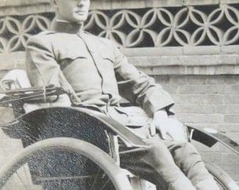 Vintage World War I Era 1910's USMC Marine In Rik Shaw Real Photo Postcard - Free Shipping