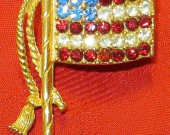 Vintage Waving Patriotic American Flag Rhinestone Brooch Pin - Free Shipping