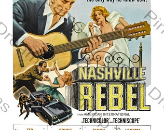 Vintage Retro Rock n Roll Wall Art Poster Print Nashville Rebel re-print Various Sizes