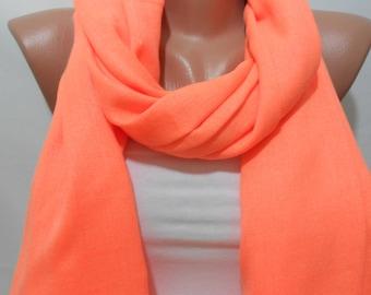 Pashmina Scarf Neon Orange Scarf Shawl Fall Winter Fashion Scarf Cowl Scarf Women Fashion Accessories Christmas Gift Ideas For Her SCARFCLUB