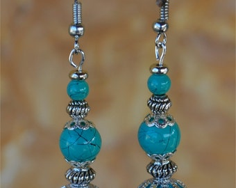 Turquoise silver earrings, turquoise earrings, silver turquoise dangle earrings 13003