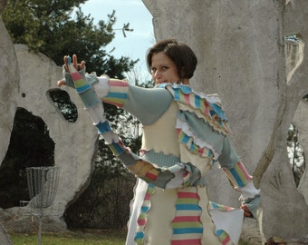Upcycled sweatercoat...Princess of Stone---Soft pastel cardigan from Sofie's Softies.