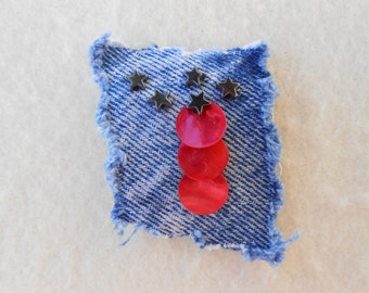 Denim brooch pin accessory, - upcycled denim w/ red shell sequins and star beads - coat, hat, purse, or lapel pin - handmade patriotic