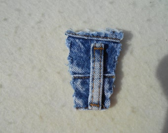 Brooch in upcycled denim pin - waistband featuring belt loop, recycled accessory denim pin  lapel pin, coat pin, hat pin