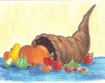 Thanksgiving Card - Original watercolor sketch of a Cornucopia on a greeting card