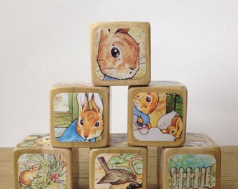 The Tale of Peter Rabbit // Baby Shower Gift // Childrens Book Blocks // Natural Wood Toy // Baby Shower