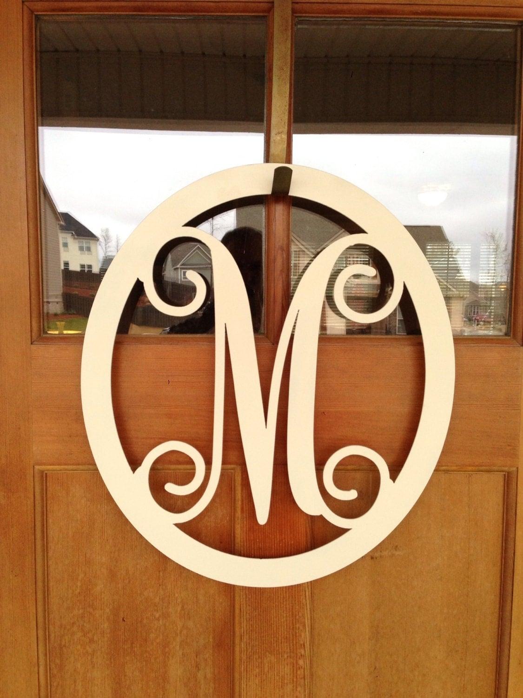 metal monogram door hanger   wreath   wall by southerngreeters