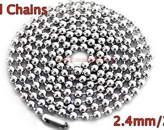 """25 Ball Chains - 24"""" inch 2.4mm Ball Chain necklaces for bottle cap jewelry"""