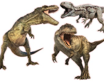 Tyrannosaurus Rex T-rex Dinosaur Set of 3 Removable Wall Stickers Decals