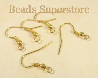 18 mm Gold-Plated French Ear Wire with Bead and Coil - Nickel Free and Lead Free - 50 pcs